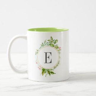 Watercolor Floral Wild Green Foliage Monogram Two-Tone Coffee Mug