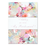 Watercolor Floral Will you be my Bridesmaid 9 Cm X 13 Cm Invitation Card