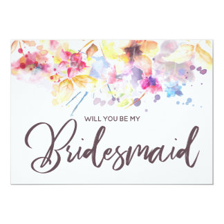 Watercolor Floral | Will you be my Bridesmaid Card