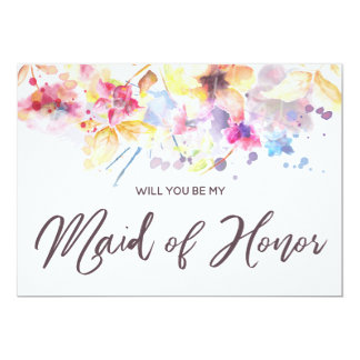 Watercolor Floral | Will you be my Maid of Honor Card