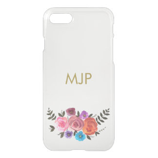 Watercolor Floral with Monogram iPhone 7 Case
