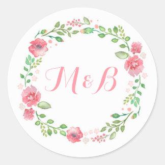 Watercolor Floral Wreath Elegant Wedding Classic Round Sticker