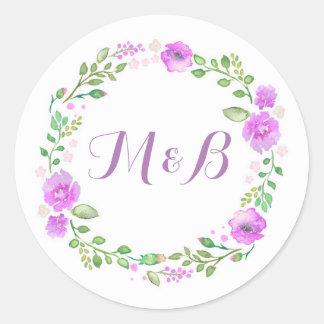 Watercolor Floral Wreath Purple Wedding Round Sticker