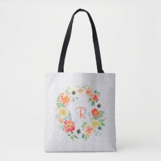 Watercolor Floral Wreath Tote Bag