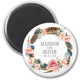 Watercolor Floral Wreath with Feathers | Wedding 6 Cm Round Magnet