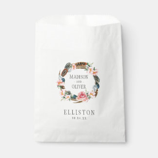 Watercolor Floral Wreath with Feathers | Wedding Favour Bags