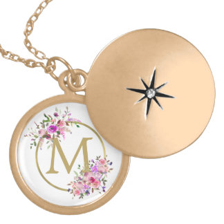 Watercolor Floral Wreath with Gold Monogram Locket Necklace