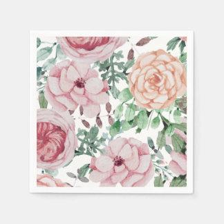 Watercolor Florals Mauve Cocktail Wedding Napkins Paper Napkins