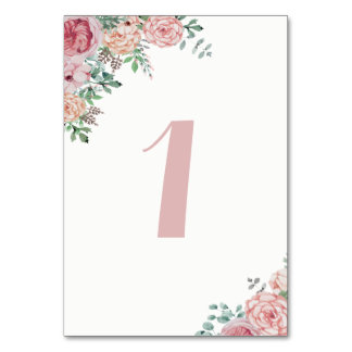 Watercolor Florals Mauve Table Number Cards