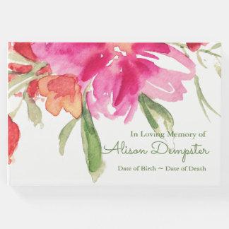 Watercolor Florals Memorial Funeral Guest Book