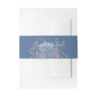 Watercolor Flower Bouquet Ivory Blue Any Color Invitation Belly Band