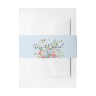 Watercolor Flower Bouquet Roses Any Color Paper Invitation Belly Band