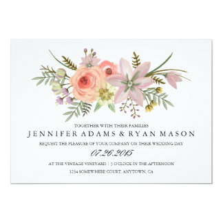 Watercolor Flower Bouquet | Wedding Invitation