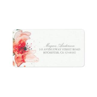 Watercolor Flower Cute Wedding Address Label