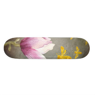 Watercolor Flower & Gold Bees 21.3 Cm Mini Skateboard Deck