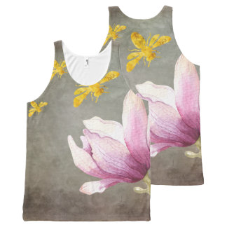 Watercolor Flower & Gold Bees All-Over Print Tank Top