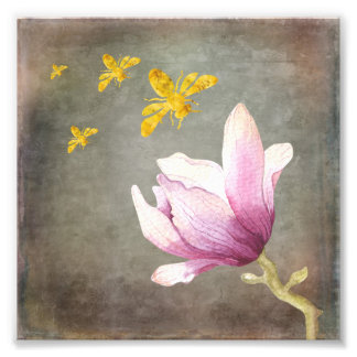 Watercolor Flower & Gold Bees Photo Print