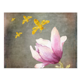 Watercolor Flower & Gold Bees Postcard