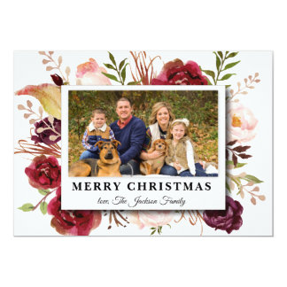 Watercolor flower Marsala Photo Christmas card