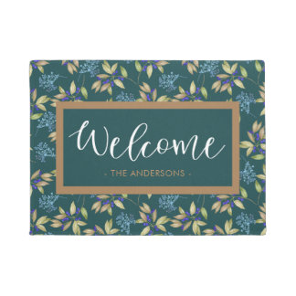 Watercolor Flower Pattern Teal Welcome Doormat