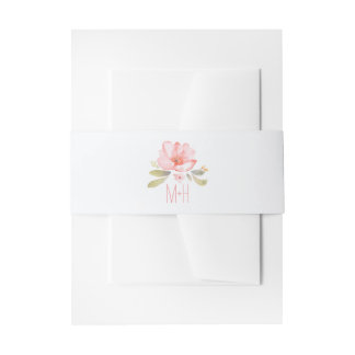 watercolor flower pink wedding invitation belly band