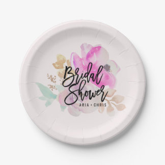 Watercolor Flower Spring Wedding Paper Plates 7 Inch Paper Plate