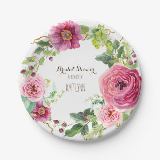 Watercolor Flower Wreath Peony Rose Bridal Shower 7 Inch Paper Plate
