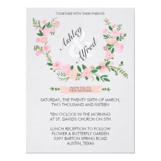 Watercolor Flower Wreath Wedding Invitation