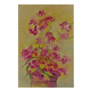 watercolor flower zeke poster