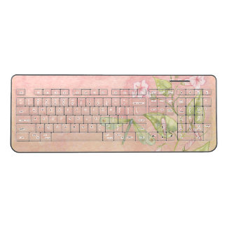 Watercolor flowers and a dragonfly (vertical) wireless keyboard