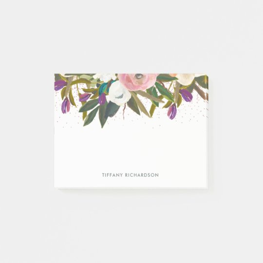 Watercolor Flowers and Faux Pink Glitter Post-it Notes