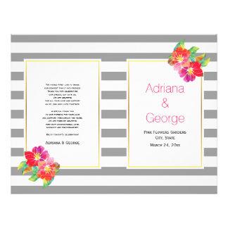 Watercolor flowers and gray, white wedding program 21.5 cm x 28 cm flyer