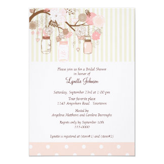 Watercolor Flowers and Jars Bridal Shower 13 Cm X 18 Cm Invitation Card