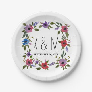 Watercolor Flowers Beautiful Wedding Monogram Paper Plate