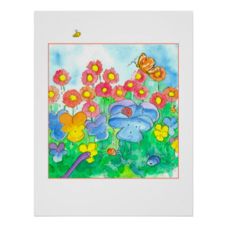 Watercolor Flowers Bees Butterflies Poster