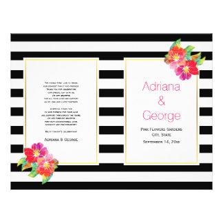 Watercolor flowers black white wedding program 21.5 cm x 28 cm flyer