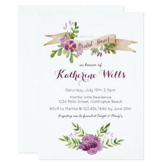 Watercolor Flowers Bridal Shower Invite