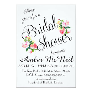 Watercolor Flowers Bridal Shower White Invitation