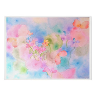 Watercolor flowers by Gemma Orte Designs. Poster