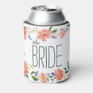 Watercolor Flowers Chic Wedding The Bride Can Cooler
