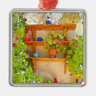 Watercolor flowers christmas ornament