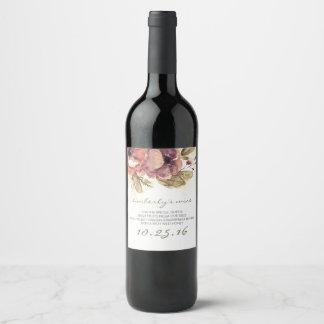 Watercolor Flowers Elegant Wedding Wine Label