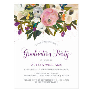 Watercolor Flowers | Faux Glitter Graduation Party Postcard