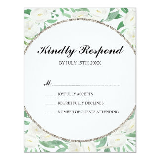 Watercolor Flowers Glitter Chic Wedding RSVP Card