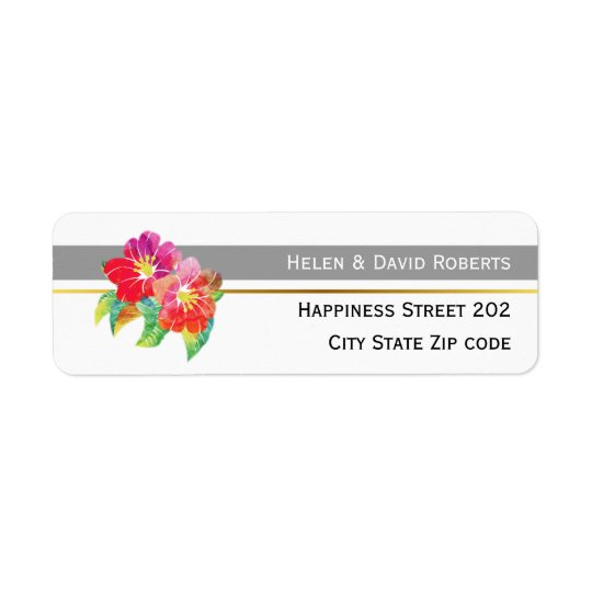 Watercolor flowers, grey and white modern wedding return address label