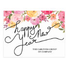 Watercolor Flowers Happy New Year Typography Postcard