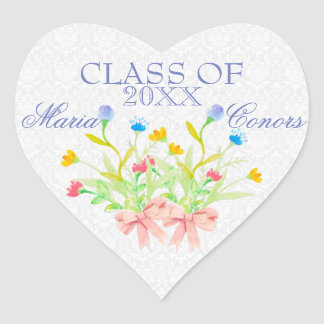 Watercolor Flowers Heart Sticker