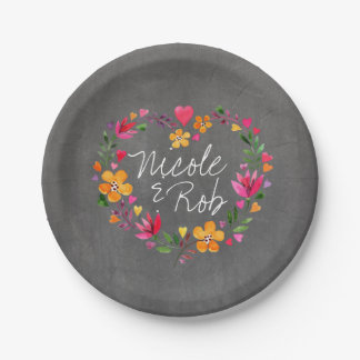 Watercolor Flowers Heart Wreath | chalkboard grey 7 Inch Paper Plate