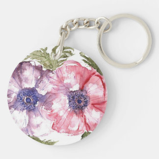 Watercolor flowers key ring