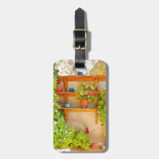 Watercolor flowers luggage tag